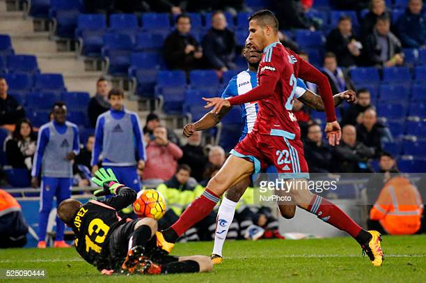 Pau Lopez and Jonathas during the match between RCD Espanyol and Real Sociedad corresponding to the week 23 of the spanish league played at the...