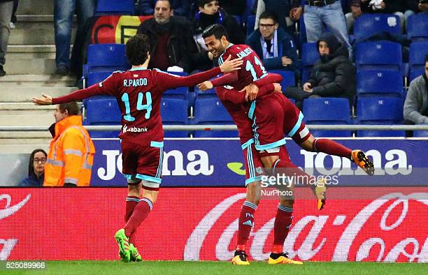 Real Sociedad players celebration during the match between RCD Espanyol and Real Sociedad corresponding to the week 23 of the spanish league played...