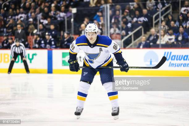 St Louis Blues forward Vladimir Tarasenko awaits the faceoff during the NHL game between the Winnipeg Jets and the St Louis Blues on February 09 2018...