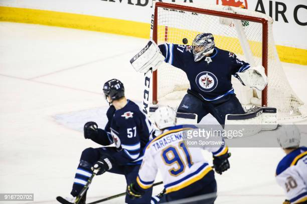 St Louis Blues forward Vladimir Tarasenko scores on Winnipeg Jets goalie Connor Hellebuyck during the NHL game between the Winnipeg Jets and the St...