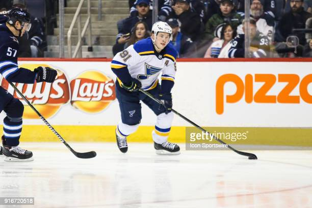 St Louis Blues forward Vladimir Tarasenko skates away fromWinnipeg Jets defenseman Tyler Myers during the NHL game between the Winnipeg Jets and the...