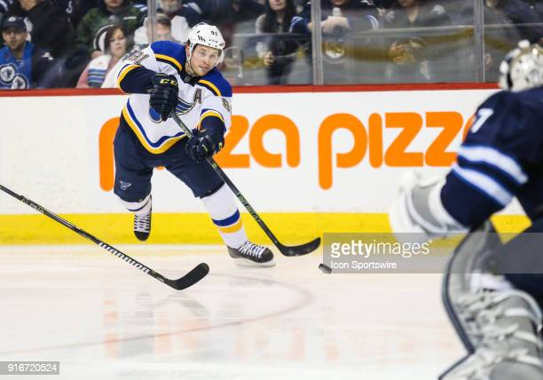 St Louis Blues forward Vladimir Tarasenko takes a shot on Winnipeg Jets goalie Connor Hellebuyck during the NHL game between the Winnipeg Jets and...