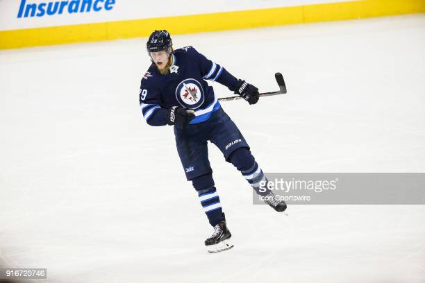 Winnipeg Jets forward Patrik Laine celebrates his goal during the NHL game between the Winnipeg Jets and the St Louis Blues on February 09 2018 at...