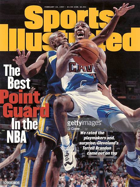 February 10 1997 Sports Illustrated via Getty Images CoverBasketball Cleveland Cavaliers Terrell Brandon in action vs Golden State Warriors Joe Smith...