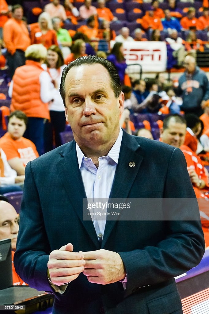 Notre Dame head coach Mike Brey prior to 1st half action ...
