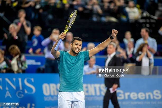 MONTPELLIER FRANCE February 10 JoWilfried Tsonga of France celebrates his victory against PierreHughes Herbert of France in the Men's Final match...