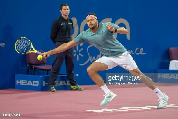 MONTPELLIER FRANCE February 10 JoWilfried Tsonga of France in action against PierreHughes Herbert of France in the Men's Final match during the Open...