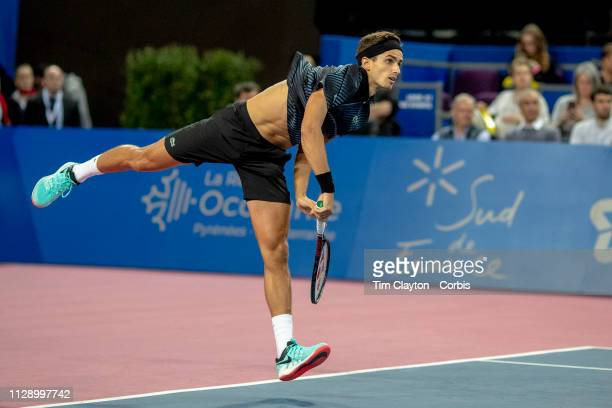 MONTPELLIER FRANCE February 10 PierreHughes Herbert of France in action against JoWilfried Tsonga of France in the Men's Final match during the Open...