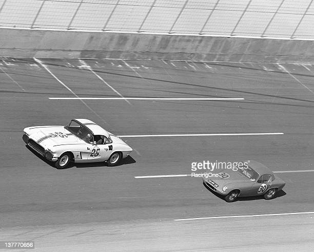 The Chevrolet Corvette of Dave Morgan leads the No 30 Lotus Elite of Formula One star Jim Clark during the Daytona Continental at Daytona...