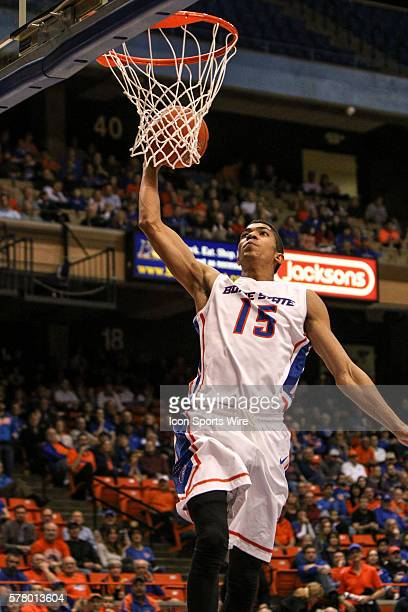 Boise State Broncos guard Chandler Hutchison dunking during 2nd half action between Air Force and Boise State at Taco Bell Arena in Boise Idaho Boise...