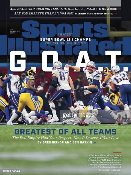 February 11 2019 Sports Illustrated Cover Super Bowl LIII New England Patriots QB Tom Brady victorious after Sony Michel rushed for fourth quarter...