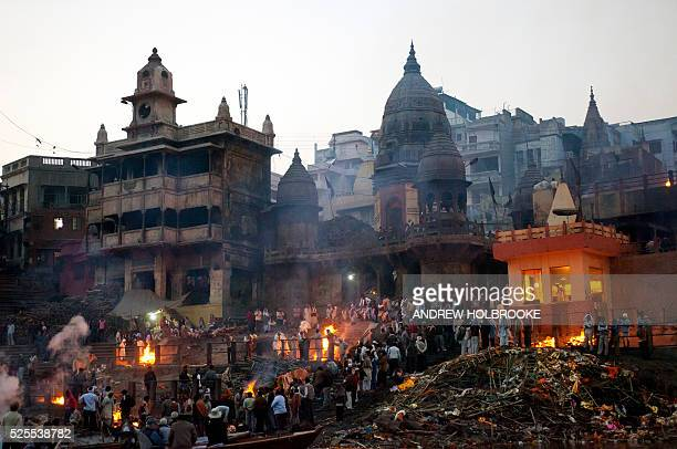 February 12 2012 The dead are burned on funeral pyres at Manikarnika Ghat a cremation Ghat on the Ganges River at Varanasi Known as the 'Gateway to...