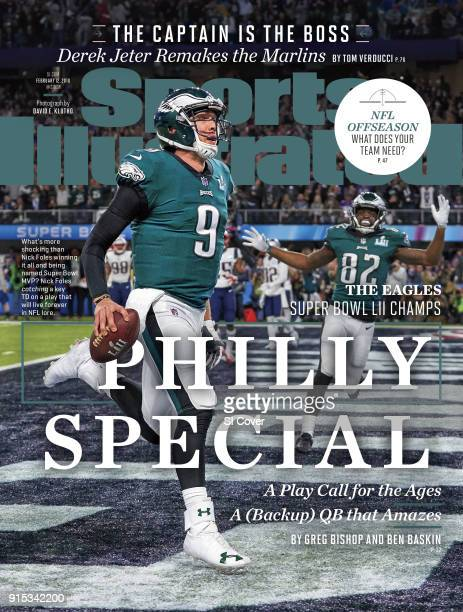 February 12 2018 Sports Illustrated Cover Super Bowl LII Philadelphia Eagles QB Nick Foles in action scoring touchdown as a wide receiver vs New...