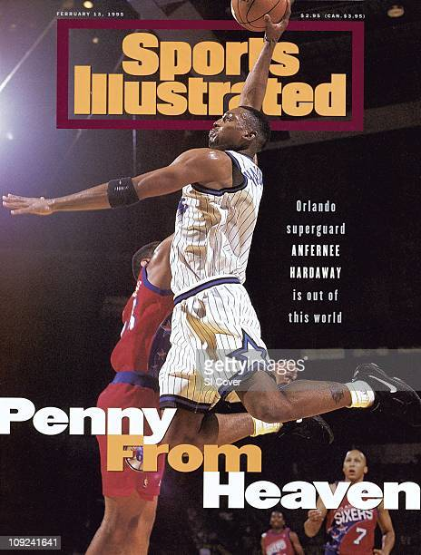 February 13 1995 Sports Illustrated CoverBasketball Orlando Magic Anfernee Penny Hardaway in action shot vs Philadelphia 76ers during preseason game...