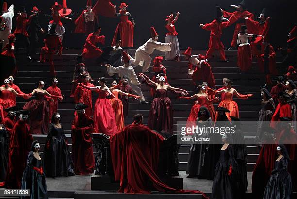 February 13 2007 Madrid Spain Dress rehearsal of the opera 'The Gioconda' of Amilcare Ponchielli with stage design and direction of scene of Pier...