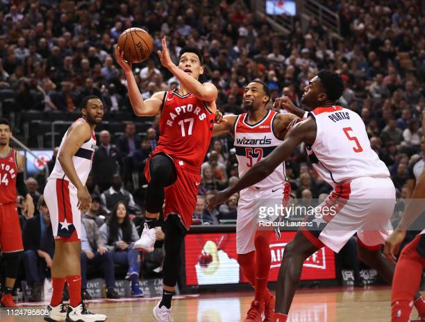TORONTO ON February 13 In first half action Toronto Raptors guard Jeremy Lin goes up for his first points as a Raptor The Toronto Raptors took on the...