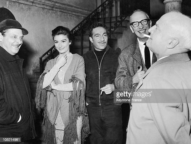February 13 In Rome The Italian Filmmaker Alessandro Blasetti Speaks With The Actress Anouk Aimee Actor Ugo Tognazzi Nino Crisman And Producers...