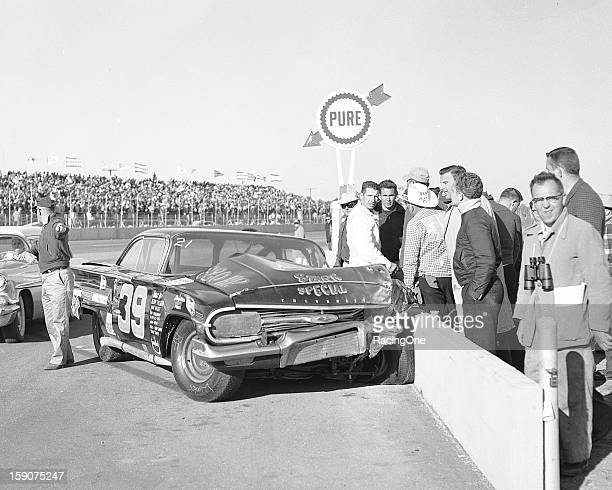 Herb Tillman lost control of his 1960 Chevrolet and crashed into the pit wall during the Daytona 500 NASCAR Cup race at Daytona International...