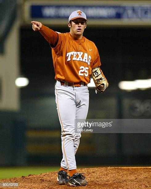 February 14 2004 Houston Texas Minute Maid ParkRice Owls vs Texas Longhorns Longhorn pitcher Huston Street points to this catcher after the last out...