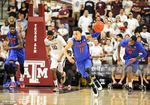 Chris Chiozza leads the fast break during first half action of the Florida Gators vs Texas AM Aggies during SEC men's basketball action at Reed Arena...