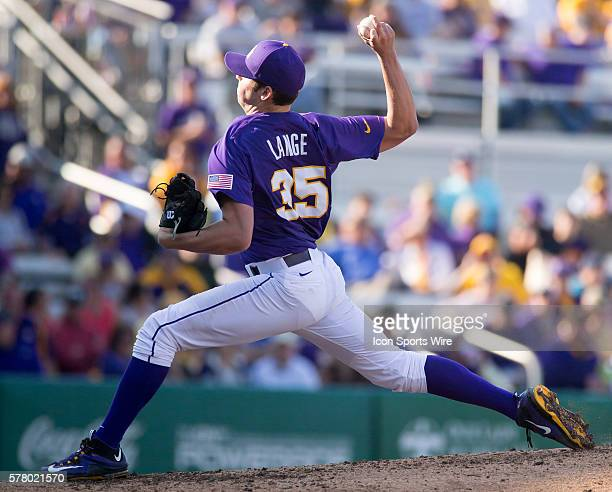 February 14 2015 LSU pitcher Alex Lange during the game between the LSU and Kansas at Alex Box Stadium in Baton Rouge LA LSU defeats Kansas 85