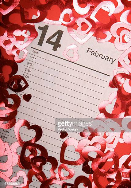 February 14 Calendar w Shiny Hearts