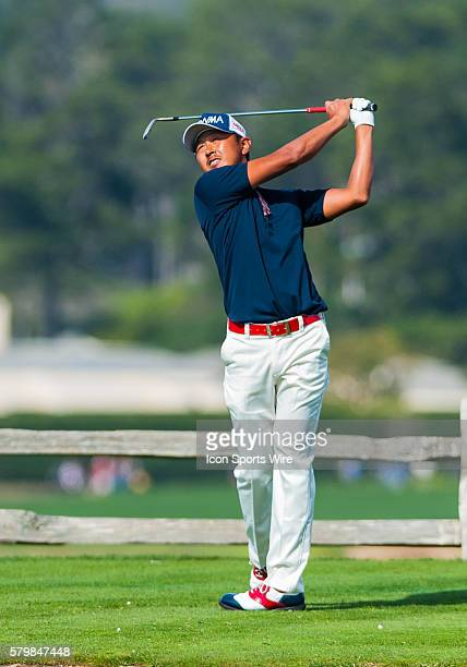 Hiroshi Iwata of Japan tees off from the 7th hole at Pebble Beach Golf links during the final round of the ATT Pebble Beach National ProAm in Pebble...