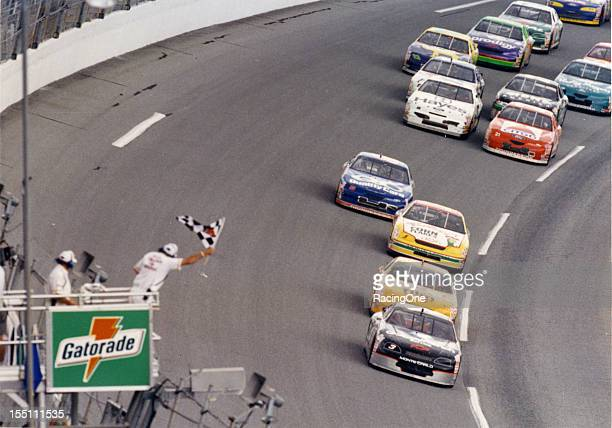 Dale Earnhardt leads Sterling Marlin Terry Labonte and Dale Jarrett to the checkered flag to win the first Gatorade Twin125 qualifying race for the...