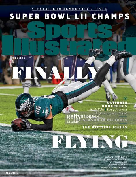 February 15 2018 Sports Illustrated Presents Cover Super Bowl LII Philadelphia Eagles Zach Ertz in action scoring touchdown vs New England Patriots...