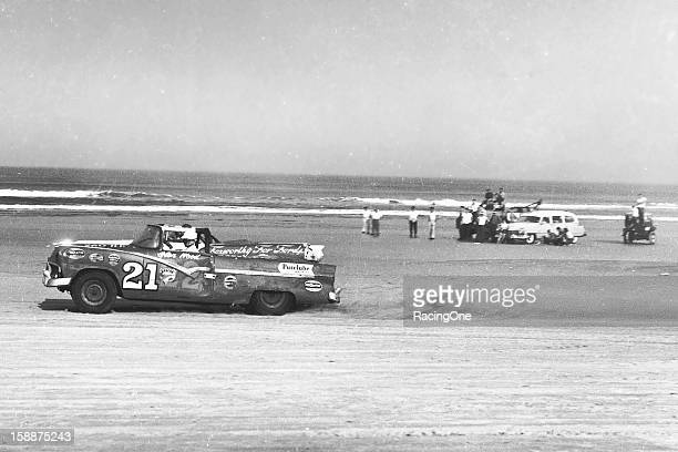 Glen Wood of Stuart VA digs into the sand as he accelerates his 1956 Ford during the NASCAR Convertible Division race on the Daytona BeachRoad Course...