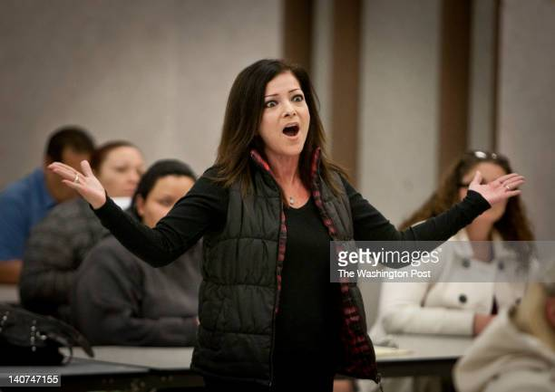ADELANTO CA February 16 2012 Adriana Savastano voices her anger about some of the current teachers at Desert Trails Elementary during a meeting at...