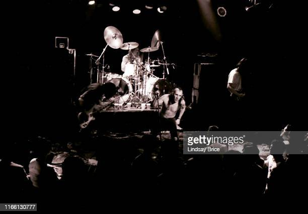 February 16 Vocalist Maynard James Keenan bassist Paul D'Amour drummer Danny Carey and guitarist Adam Jones perform in Tool at The Whisky on the...