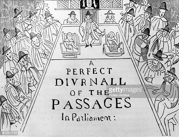 February 1642 The head of a seventeenth century newspaper reading 'A Perfect Diurnal Of The Passages In Parliament' showing the Westminster...