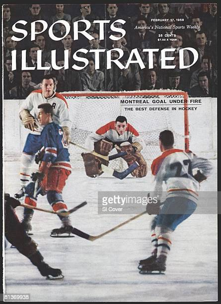 February 17 1958 Sports Illustrated via Getty Images Cover Hockey Montreal Canadiens goalie Jacques Plante in action vs New York Rangers New York NY