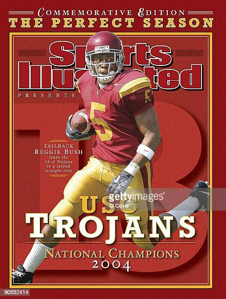 February 17 2005 Sports Illustrated Cover College Football USC Reggie Bush in action rushing vs Cal Commemorative Los Angeles CA 10/9/2004 CREDIT...