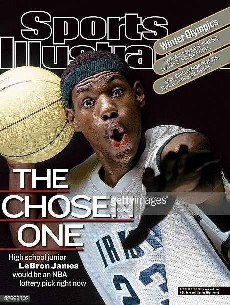 February 18, 2002 Sports Illustrated Cover: High School Basketball: Closeup portrait of St. Vincent-St. Mary HS LeBron James with ball at STVM...