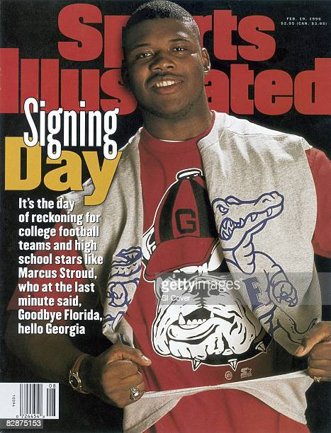 February 19 1996 Sports Illustrated Cover High School Football Closeup casual portrait of Brooks County HS Marcus Stroud ripping off Gators...