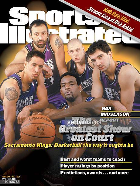 February 19 2001 Sports Illustrated CoverBasketball Portrait of Sacramento Kings starting five Doug Christie Vlade Divac Jason Williams Predrag...