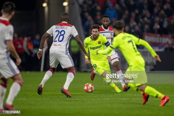 LYON FRANCE February 19 Lionel Messi of Barcelona in action during the Lyon V Barcelona UEFA Champions League round sixteen 1st leg match at Groupama...