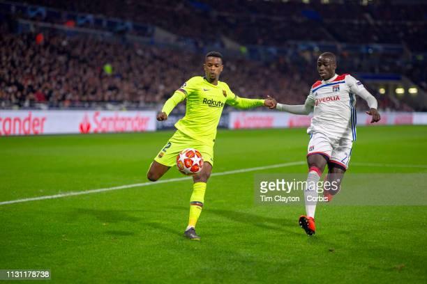 February 19 Nelson Semedo of Barcelona has his cross blacked by Ferland Mendy of Lyon during the Lyon V Barcelona UEFA Champions League round sixteen...