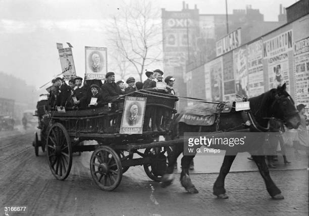 Wagon of supporters canvassing for Collins during the Kennington Election, London. The Tariff Reform Question is referred to on one of the posters.