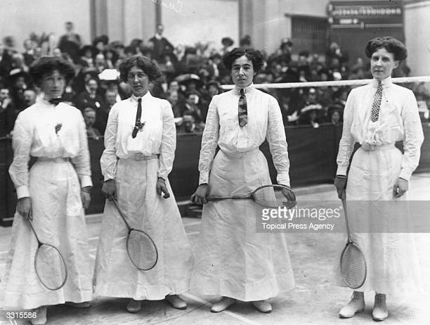 The Women's Doubles finalists in the All England Badminton Championships Margaret Larminie and partner with winners Dorothy Cundall and Alice...