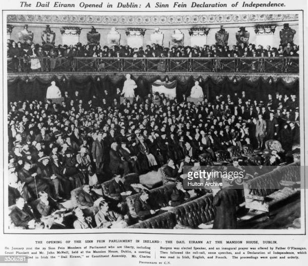 The Opening of the Sinn Fein Parliament at the Mansion House Dublin Original Publication Illustrated London News pub 1919