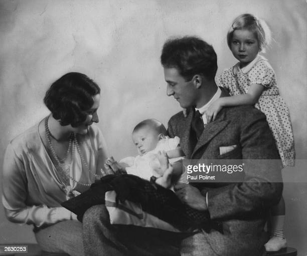 Crown Prince Leopold and Crown Princess Astrid of Belgium with their two children Josephine Charlotte later Grand Duchess of Luxembourg and baby...
