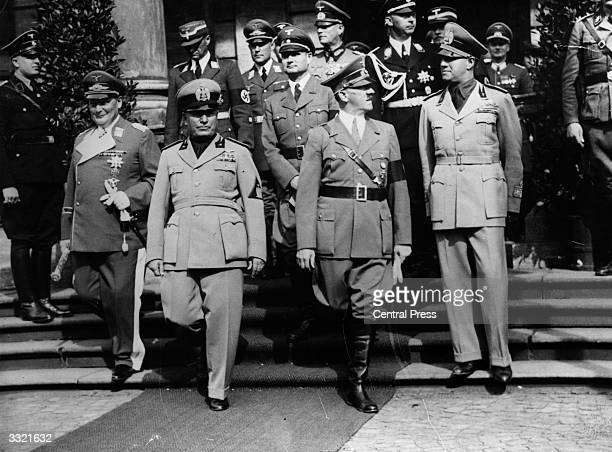 German politician Rudolf Hess at a meeting of leaders of the Axis powers in Germany Hermann Goering Benito Mussolini Adolf Hitler and Count Galeazzo...