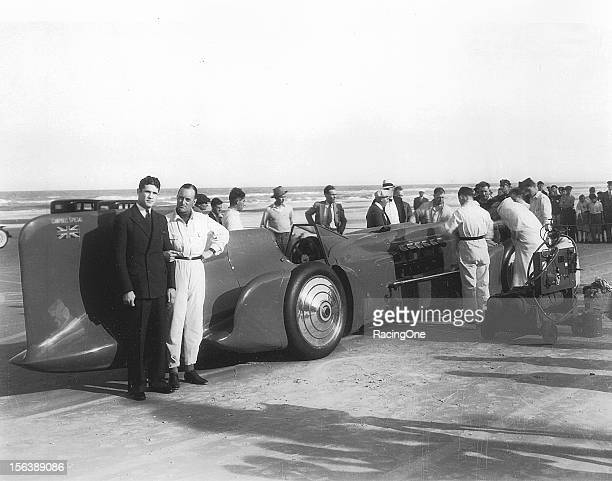 """February 1933: Sir Malcolm Campbell brought his """"Bluebird IV"""" back to Daytona Beach, but now with Rolls-Royce power. Campbell raised his one-mile..."""