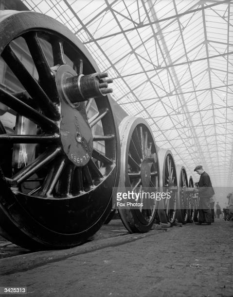 A line of rail wheels at the London Midlands Scottish railway depot in Crewe