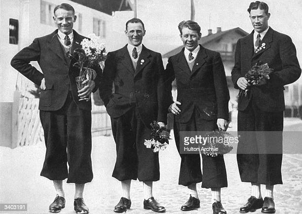 The Swedes take the first four places in the 50 km long distance ski-race at the 1936 Winter Olympics at Garmisch-Partenkirchen. Elis Wiklund , Axel...