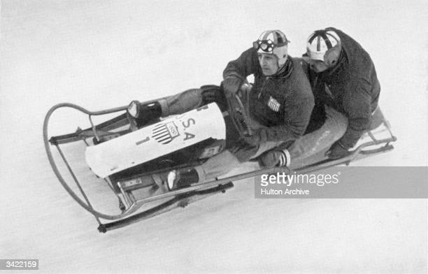 Two man bobsleigh champions Ivan Brown and Alan Washbond in action at the 1936 Winter Olympics which was held at GarmischPartenkirchen Germany