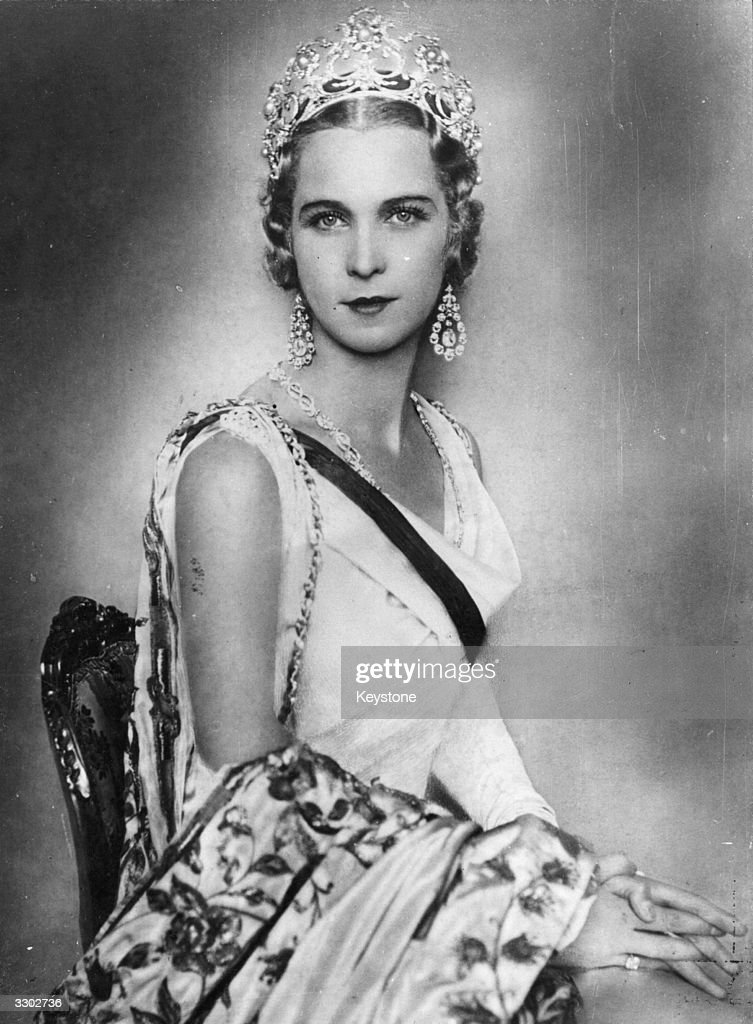 Queen Marie Jose of Italy as Princess Marie Jose of Piedmont, Crown Princess of Italy (1906 - 2001). She is the wife of Prince Umberto of Piedmont, Crown Prince of Italy, the future King Umberto II of Italy, and the sister of King Leopold III of Belgium.